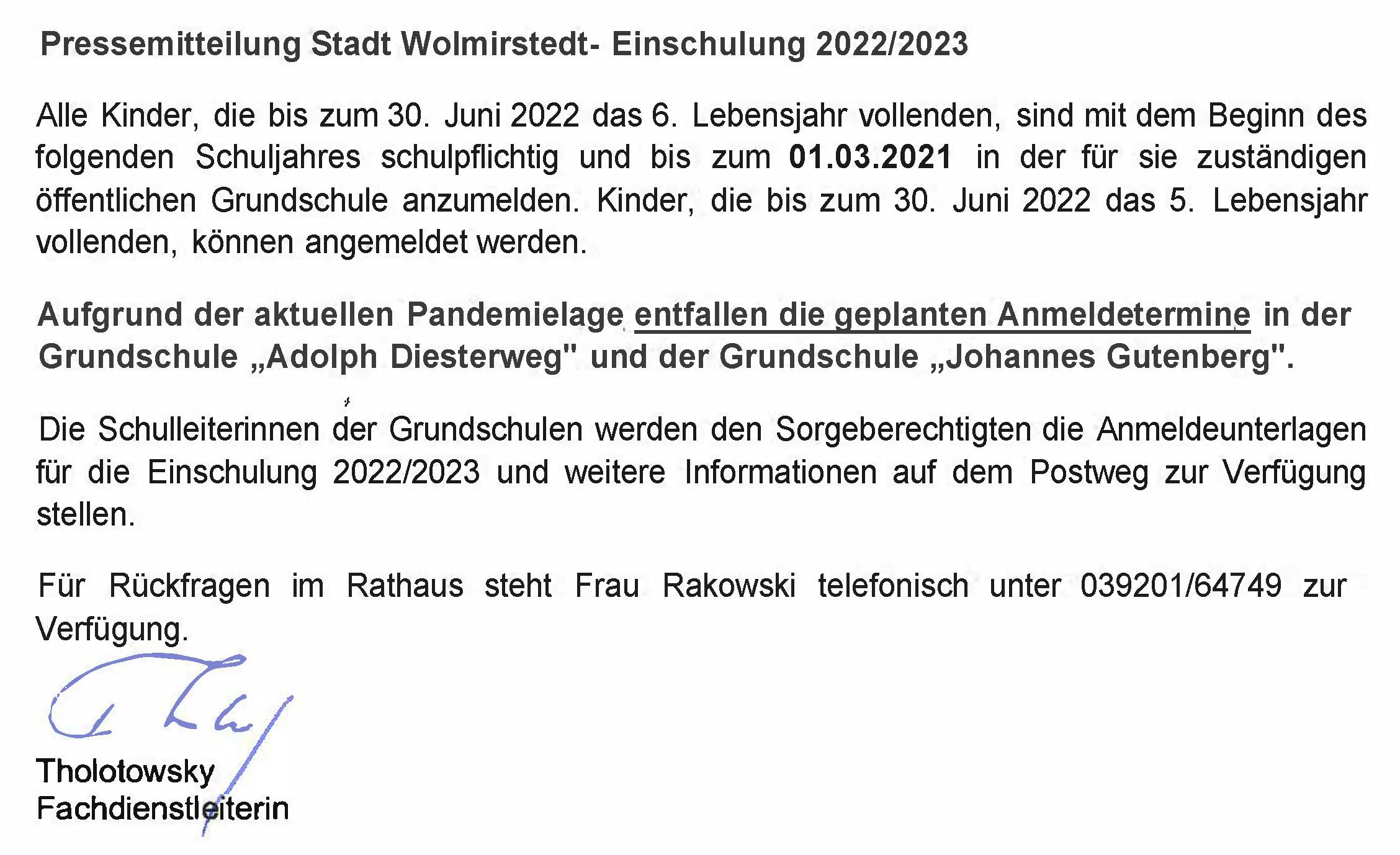 Pressemitteilung Einschulung 2022/23